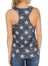 Vest American Flag Start Striped Print O-Neck Sleeveless Backless Casual Loose Tank Top