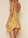 Floral Print Deep V Neck Sleeveless Dress Crisscross Back Asymmetric Slip Mini Dress