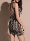 Party Snake Skin Deep V Neck Dress Robe sans manches moulante Mini