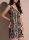 Party Snake Skin V Neck Strap Dress Sleeveless Bodycon Mini Dress
