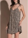 Snake Skin V Neck Spaghetti Strap Dress Loose Sleeveless Party Mini Dress