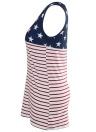 Camiseta sin mangas con cuello en V sin mangas con estampado de rayas y estampado de rayas de la bandera americana