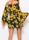 Винтаж с плеча Цветочные упругие талии юбка Flare рукава Drawstring мини платье