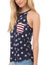 Correa de espagueti con estampado de rayas y estampado de rayas en la bandera americana Pullover con suela de lazo y aberturas