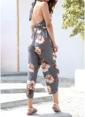 Floral impression profonde V cou Halter Backless Split pantalon Pants Rompers Combishort