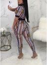 Colorful Stripes Vintage Print Deep V Neck Short Sleeve Bodycon Jumpsuit