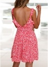 Boho Floral Ruffle V Neck Backless saia plissada Casual Praia Mini Sun Dress