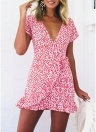 Boho Short Sleeve Floral Deep V Neck Skirt Ruffles Hemline Summer Beach Mini Dress
