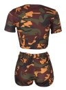 Sexy Women Camouflage Crop Top Shorts O-Neck Short Sleeves Casual Slim Sports Two Piece Coffee