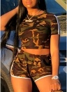 Sexy donna Camouflage Crop Top Shorts O-Collo maniche corte Casual Slim Sports due pezzi di caffè