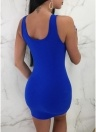 Women Dress Asymmetric Cut Out O-Ring Splicing Sleeveless Bandage Bodycon Solid Mini Night Clubwear
