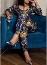 Sexy Femmes Combinaison Coloré Imprimé Chaîne Profonde V Décolleté 3/4 Manches Taille Cravate Bodycon Night Clubwear