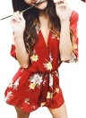 New Sexy Women Chiffon Rompers Floral Print V Neck Flare Sleeve Elastic Waist Jumpsuit Playsuit Orange