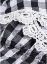 Frauen weg von der Schulter Kleid Plaid Print Bell Ärmel Slash Neck hohe Taille Rüschen Minikleid