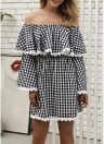 Women Off the Shoulder Dress Plaid Print Bell Sleeves Slash Neck High Waist Ruffles Mini Dress