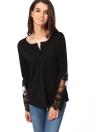 Casual Stitching Lace Mesh Splicing Women's Long Sleeve T-Shirt