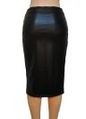 Europa atractiva de las mujeres de la falda del cuero de la PU del color sólido del Mediodía faldas del lápiz OL delgado ocasional de Clubwear