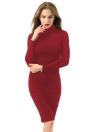 Сексуальные женщины Европы платье водолазка длинный рукав теплой Midi платье повязку Bodycon партии Clubwe