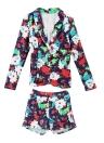 Sexy Frauen Zweiteiliges Set Floral Print langarm lässig Blazer Hot Pants Shorts Set Anzug weiss