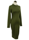 Sexy Backless Ruched Stand Collar Long Sleeve Bodycon Midi Club Dress