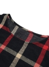 Plaid Print Round Neck 3/4 Sleeve Plus Size Loose Blouse