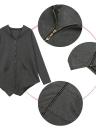 Neue Frauen Mantel lange Hoodie asymmetrische Saum Reißverschluss Schließung Taschen Oberbekleidung Sweatshirt Pullover schwarz/grau