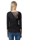 Leopard Schaltfläche neu Mode Frauen Hoodie T-Shirt Kapuzen Neck Langarm Pullover schwarz