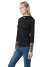 Fashion Leopard Button Hooded Neck Long Sleeve Black Sweatshirt