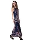 Sensuais mulheres longo vestido Floral Print oca fora caiu Armholes Split Hem Bodycon Dress Dark Blue