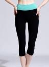 Nueva moda mujer recortada Yoga pantalones contraste cintura elástico deportes Fitness pantalones corriendo Leggings Capri