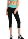 Nouveaux vêtements femme recadrée Yoga Pants contraste taille élastique Sports Fitness pantalon Leggings Capri en cours d'exécution