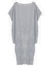 Maxi vestito allentato a strisce Batwing spalle Split asimmetrica extrasize da donna