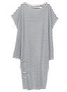Vestido largo de rayas floja del Batwing del hombro división asimétrica de las mujeres más del tamaño