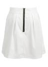 Nova moda mulheres sólido de Mini saia plissada zíper exposto volta de fixação saia Casual branco