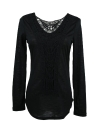 Neue Mode Frauen T-shirt Crochet Lace Panel Runde Hals Langarm Slim Fit solide lässig Bluse grün/weiß/Khaki
