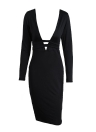 Sexy Plunge V Neck Bandage Hollow Out Long Sleeve Bodycon Black Dress
