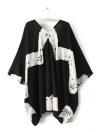 Women Open Front Contrast Print Three-Quarter Sleeve Kimono