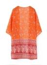 Neue Fashion Damen Strickjacke offen vorne Kontrast Drucken halbe Tasche Kimono Orange