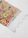 Vintage Floral Print Lace Hem Boho Chiffon Kimono