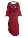 Lace Open Back Thigh Split Round Neck Long Sleeve Maxi Dress