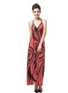 Fashion Print Halter Deep V-Neck Cross Backless Slim Sexy Dress