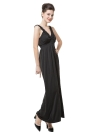 New Fashion Women Sleeveless Dress Deep V-Neck Ruffle Backless Sexy Long Dress Black