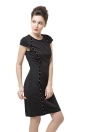 Stud Embellished Front Short Sleeve Mini Bodycon Black Pencil Dress