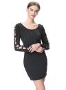 Nouveau mode femmes robe lacets de couleur unie manches liée autour de cou manches longues pull Mini robe noire