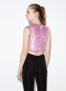 Metallic Fastening Contrast Trim Roun Neck Sleeveless Crop Top