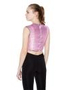Nueva moda mujer cosecha superior cremallera metálica fijación posterior contraste Ajuste de Roun de cuello sin mangas Slim Fit Sexy Tee rosa