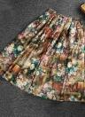 Nouveau mode femmes Midi jupe couleur d'impression Floral bloc haute taille élastique a-ligne plissée jupe Vintage jaune