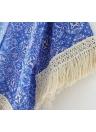 Mulheres vintage quimono do Chiffon Floral impressão borlas franja solta Cardigan pura Outerwear blusa bege