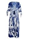 Boho Contrast Print Deep V-Neck Maxi Dress