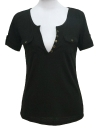 Bouton de femmes sexy T-shirt col v profond manches courtes pull chemisier Casual Slim Clubwear Top White/Black